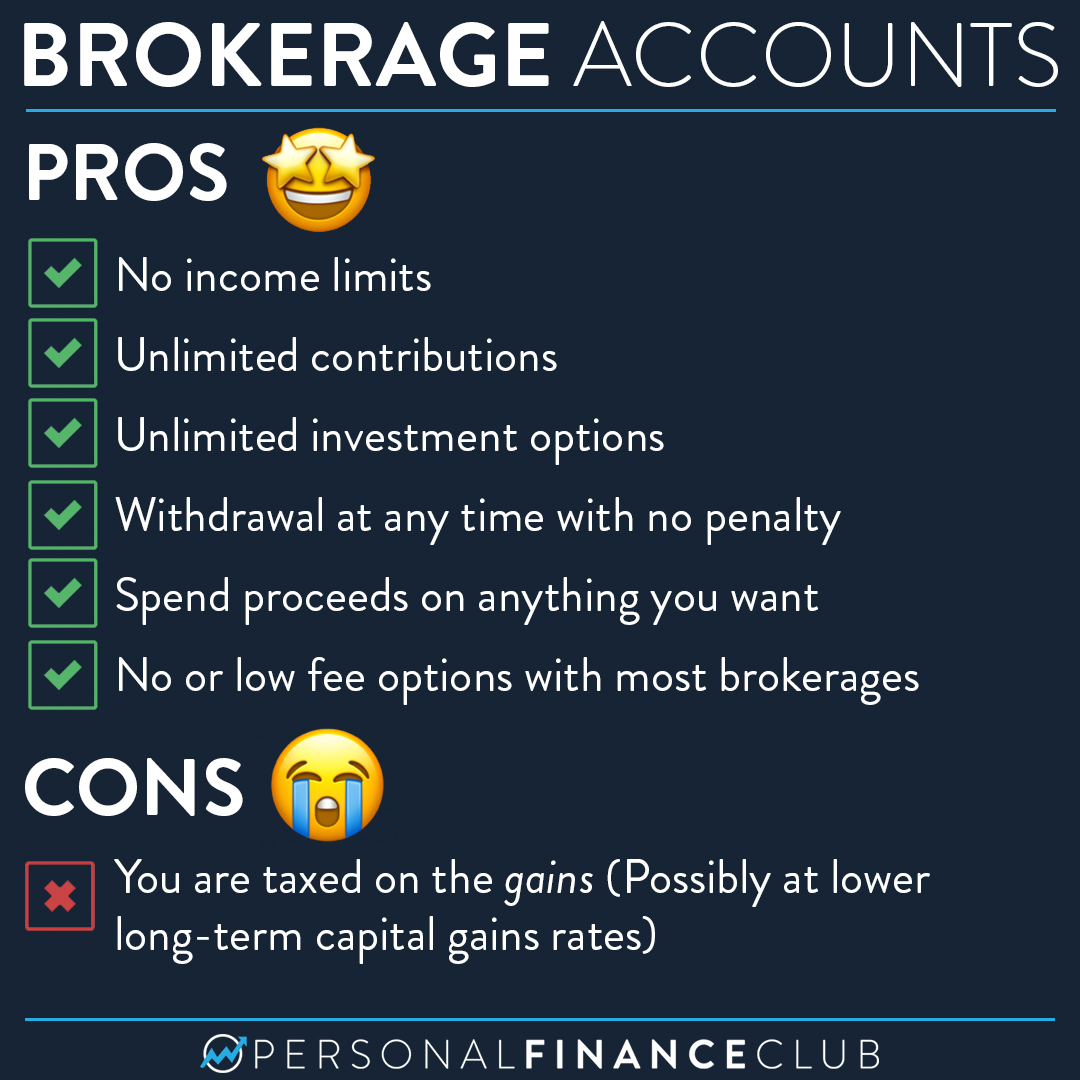 What are the pros and cons of taxable brokerage accounts?